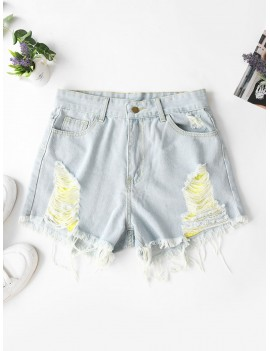 Ripped Frayed Hem Denim Shorts With Pockets - Jeans Blue L