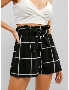 High Rise Plaid Belted Frilled Shorts - Black M