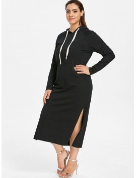 Plus Size Hooded Slit Pocket Dress - Black 3x