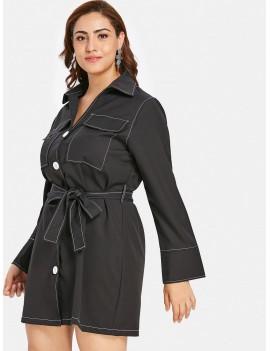 Button Up Plus Size Shirt Dress - Black 3x