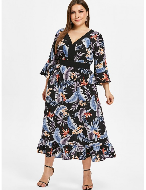 Floral Plus Size Flare Sleeve Flounce Dress - Black 3x