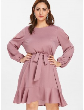 Belted Plus Size Flounce Dress - Lipstick Pink 2x