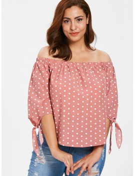 Plus Size Knotted Polka Dot Blouse - Pink 3x