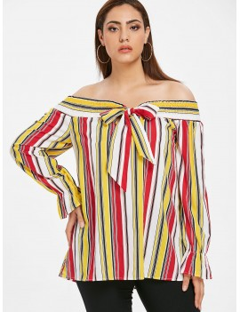 Plus Size Knotted Striped Blouse - Multi 3x
