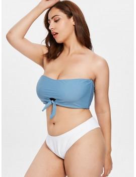 Knotted Bandeau Plus Size Swimwear Set - Silk Blue 3x
