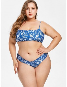 Floral Faux Denim Plus Size Swimwear Set - Blue 3x