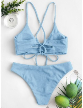 Criss Cross Textured Padded Swimwear Swimsuit - Denim Blue S