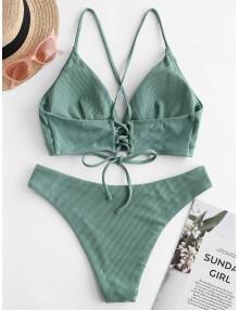 Ribbed Lace Up Cami Swimwear Swimwear - Sea Turtle Green S