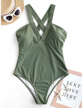 Criss Cross Plain One-piece Swimsuit - Camouflage Green M